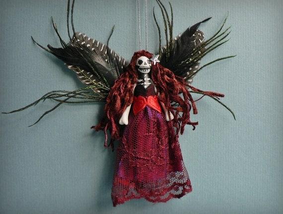 Day of the Dead Fairy Peg Doll Ornament - Ooak handmade skull face fairy peg doll