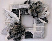 NOW ON SALE!! Paper Wrapped Square Vintage Book Paper Rosette Wreath