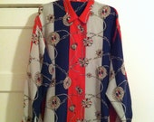 80s Scarf Print Nautical Silk Blouse - Women's, Oversized