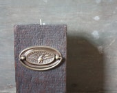 Candle Block - Reclaimed Wood Slow Growth Hemlock Candle Holder with Vintage Brass Eagle Hardware