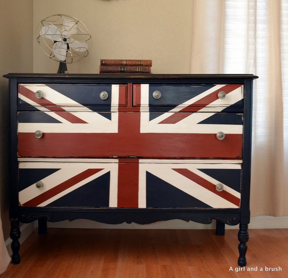 Reserved listing for Karen-Union Jack painted/stained dresser distressed