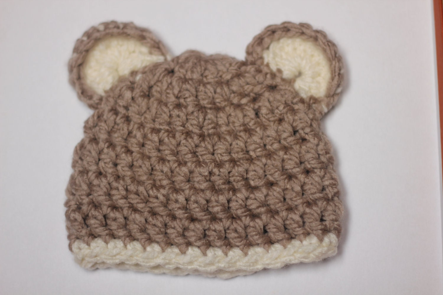 Crochet Baby Hat Bear Ears Pattern : crochet baby hat bear ears chunky beanie by snugglebugglebabe