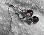 Earrings Amethyst Dangle Sterling Silver Wrapped