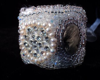 BRIDAL SALE Cuff Bracelet Crystals Pearls Cameos Pink Pearls #bridalsale #Summersale