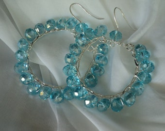 Hoop Earrings Blue Crystals Earrings Perfect Summer Earrings
