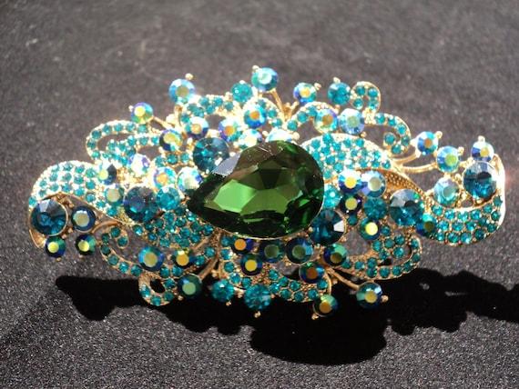 ON SALE Bridal Brooch  Swarovski Crystal Blue Green