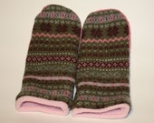 Mittens made from upcycled felted wool sweaters.