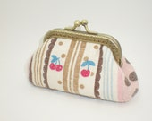 Cherries coin/change pouch/purse/wallet w  metal frame