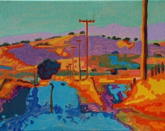 "Sunset over California Hills III oil painting 12""x16"""