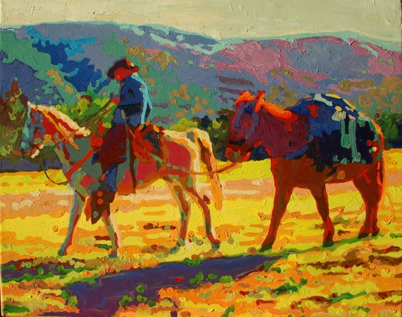 """Cowboy and Pack Mule Morning Light I Oil Painting 16""""x20"""""""