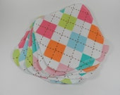Girly Argyle Flannel Cloth Wipes - Half dozen