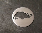 Singapore Cut Out Metal Stamping Blank / Hand Stamp Shape Disc / Handstamping Supply / Custom Design Blank