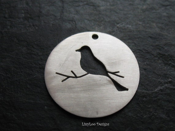 """Round Sterling Custom Stamping Disc--7/8"""" Sitting Bird Cut Out"""