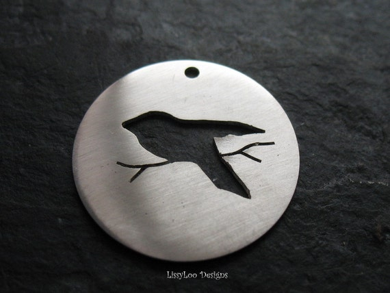 Flying Bird Metal Stamping Disc / Hand Stamp Shape Disc / Handstamping Supply / Custom Design Blank out