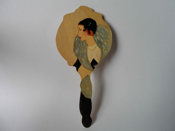 Wooden Hand Mirror OOAK Vintage Nostalgic Art Nouveau Art Deco Fashion Lady