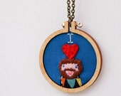 Appliqué and embroidered hoop necklace - cute mini  hoop design - I LOVE ALEX - personalized - customized - made by dandelyne