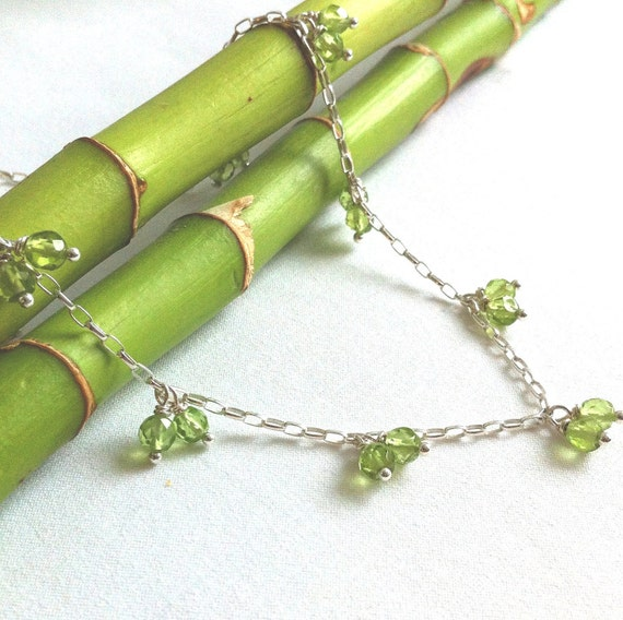 Silver Anklet - Peridot - Gemstone Jewelry - Womens Anklet