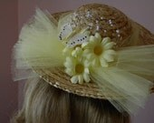 American Girl inspired hat with yellow butterfly, flowers and tulle -Ready to ship