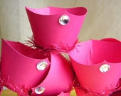 Reserved for Aimee Set of 18ct Fancy Tiara Cupcake Wrappers in Hot Pink with clear crystal Due by June 23