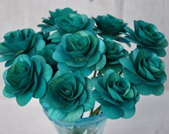 Teal Wooden Roses  - Two Dozens  with Wire Stem - 2 inches diameter