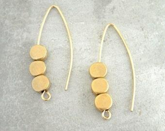 Arc earrings, Marquise earring, Dangle & Drop earrings,  Gold filled earrings, Open hoop earrings, Minimal earrings, Bead earrings