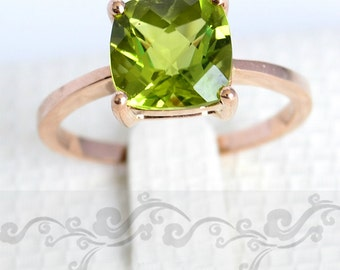 3 Carat Peridot Ring, 14K Gold
