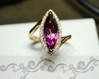 Engagement Ring - 3.6 Carat Pink Tourmaline Ring With Diamonds In 14K Gold