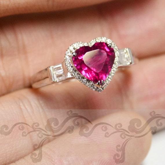 Engagement Ring - 2.2 Carat Pink Tourmaline Ring With Diamonds In 14K White Gold