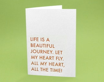 Inspirational Card w/ Envelope - 5x7 debossed - Let my heart fly