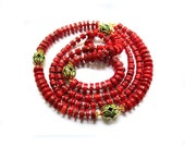Red coral long ethnic style bright  summer two row natural necklace.