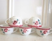 Five french coffee cups Vintage country