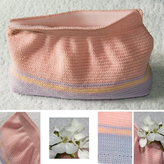 Items similar to Pink and blue crochet cosmetic bag with ...