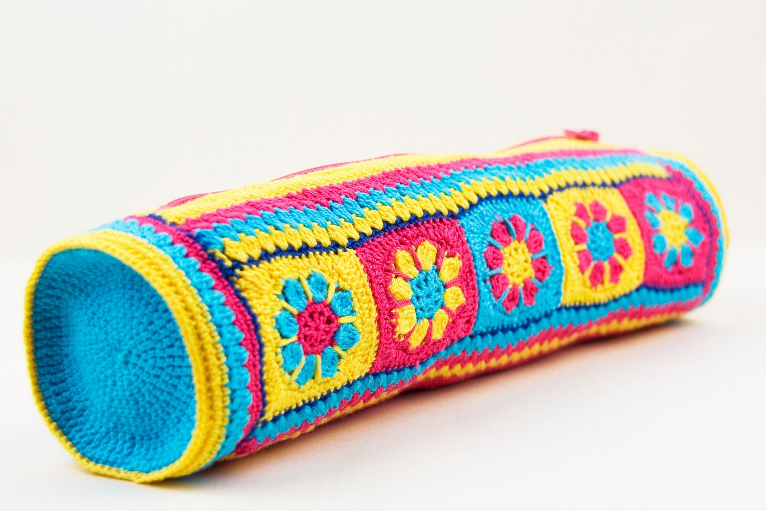 Items similar to Homemade crochet colorful pencil case for ...