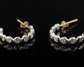 Gypsy Silver Earrings, Solid 9K Gold Stud, Sensitive Ear, Silver Combined Balls, 5 Transparent Zircons Inlaid, Elegant, Modern