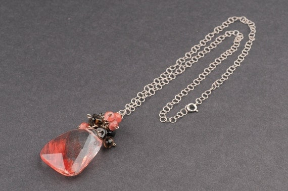 Pink Brown Pendant, Large Faceted Drop with Cluster of Beads,Long Silver Chain