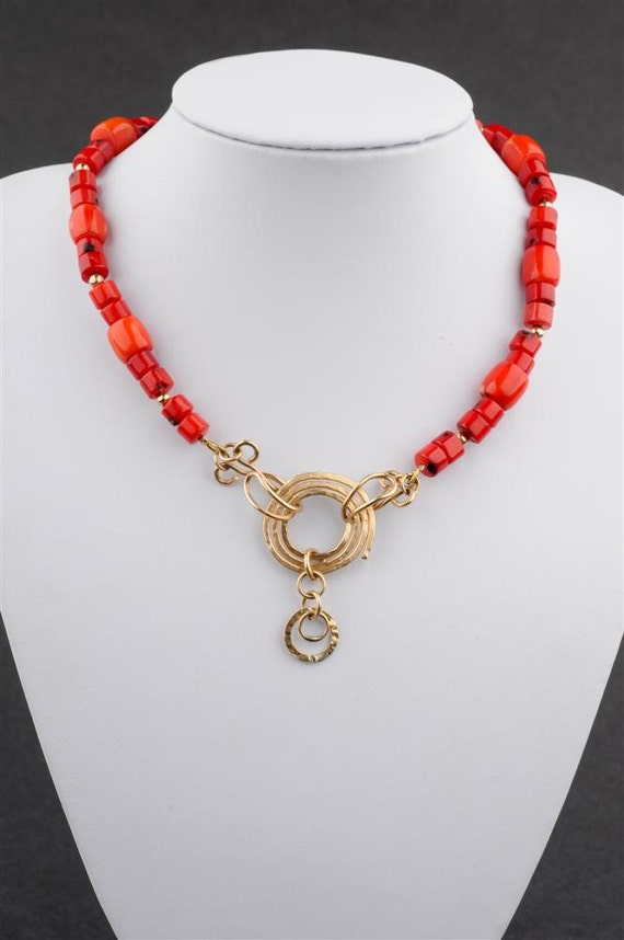 "Red Coral  Beaded Necklace, Spiral Gold Filled Pendant  - ""Sunset in Gold and Red"""