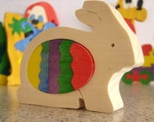 Personalized Wooden Puzzle Easter Bunny. Kids toy. Ready to ship