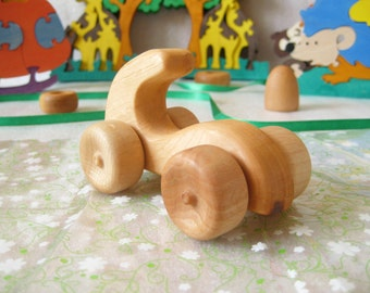 Wooden baby/kids toy Car Race. Impregnated  with linseed oil. Wood toys - Ready to Ship