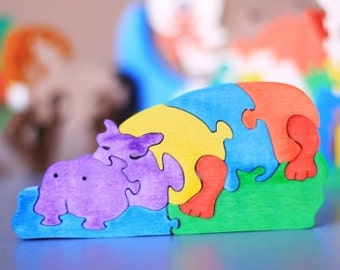 Hippo puzzle. Wooden toys, wooden animal puzzle, eco friendly handmade toys for babies, children