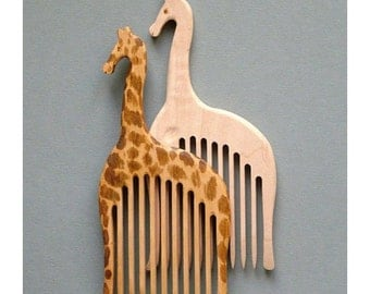 Wooden Comb Giraffe - Hand Carved Natural wood comb. One of your choice. Head Handle - Ready to Ship