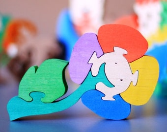 Colorful Wood Wooden Puzzle Flower. Handmade kids toy. Wooden ecofriendly handmade toys for children. Ready to ship.