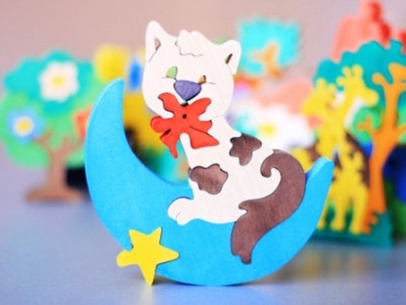 """Wooden Puzzle """"Cat on the moon"""". Handmade puzzle game that develops motor skills. Kids toy. Wooden ecofriendly handmade toys for children"""