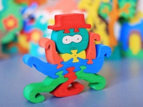 Wooden Puzzle Octopus wooden toys, wooden animal puzzle, eco-friendly handmade toys for babies, children, kids, boys and girls