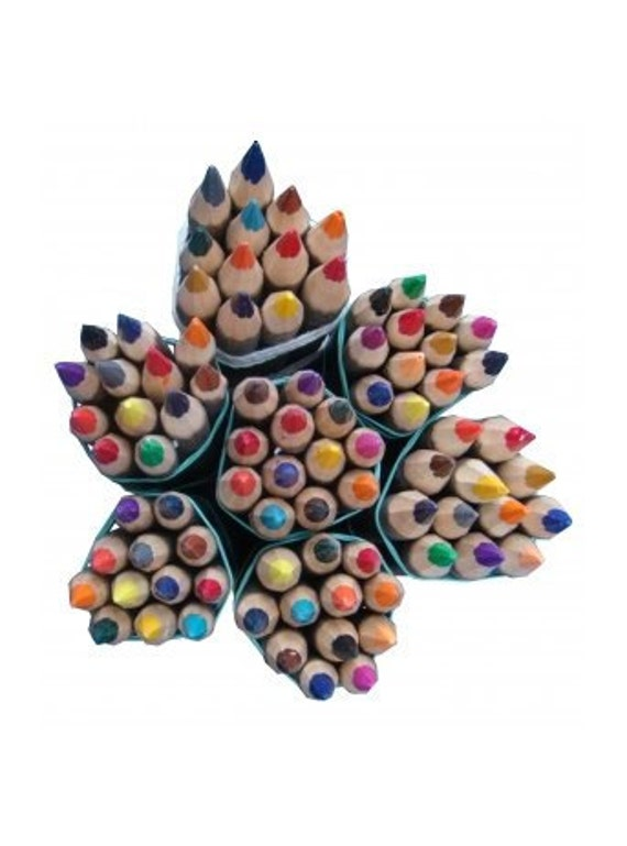 Wooden Colored Pencils. Set of 12 big pencils made of natural Distressed wood - Ready to Ship