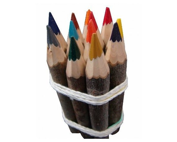 Colored Wooden Pencils.12  pencils made of natural Distressed wood