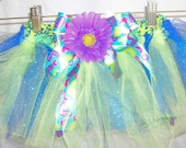 TUTU SKIRT PURPLE Daisy with Green and Blue Tulle