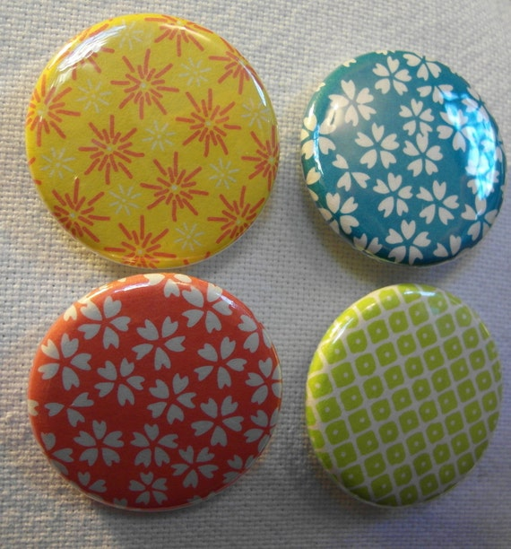 Japanese origami rice paper pinback button (badge) set (4)