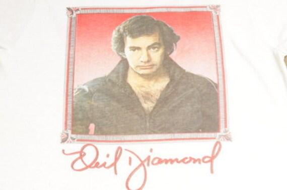 1980s Neil Diamond Ringer T-Shirt Size L Screen Stars FREE SHIPPING IN U.S.A! 80s