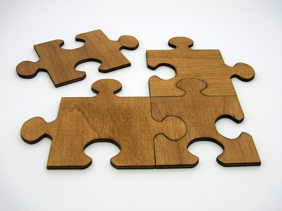 Wooden Jigsaw Puzzle Coasters set by InvenioCrafts on Etsy