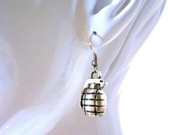 BOMB Silver Hand Grenade Earrings